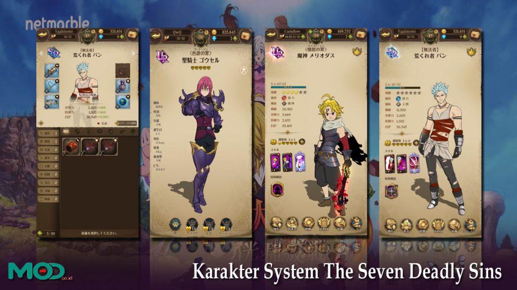 Karakter System The Seven Deadly Sins